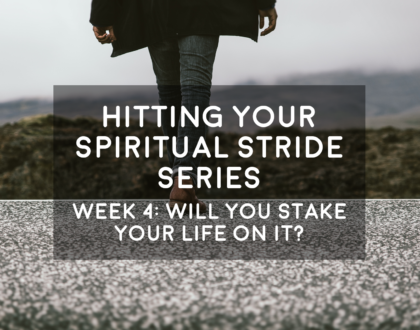 Will You Stake Your Life on It - Hitting Your Spiritual Stride - 9/2/18